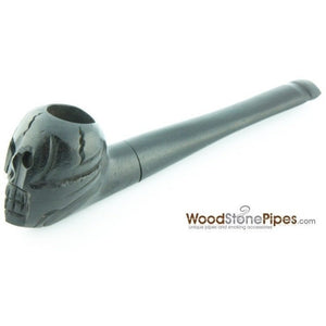 "Skull Shaped Hand Carved Ebony Wood Smoking Tobacco Pipe - 5"" - WoodStonePipes.com   - 3"