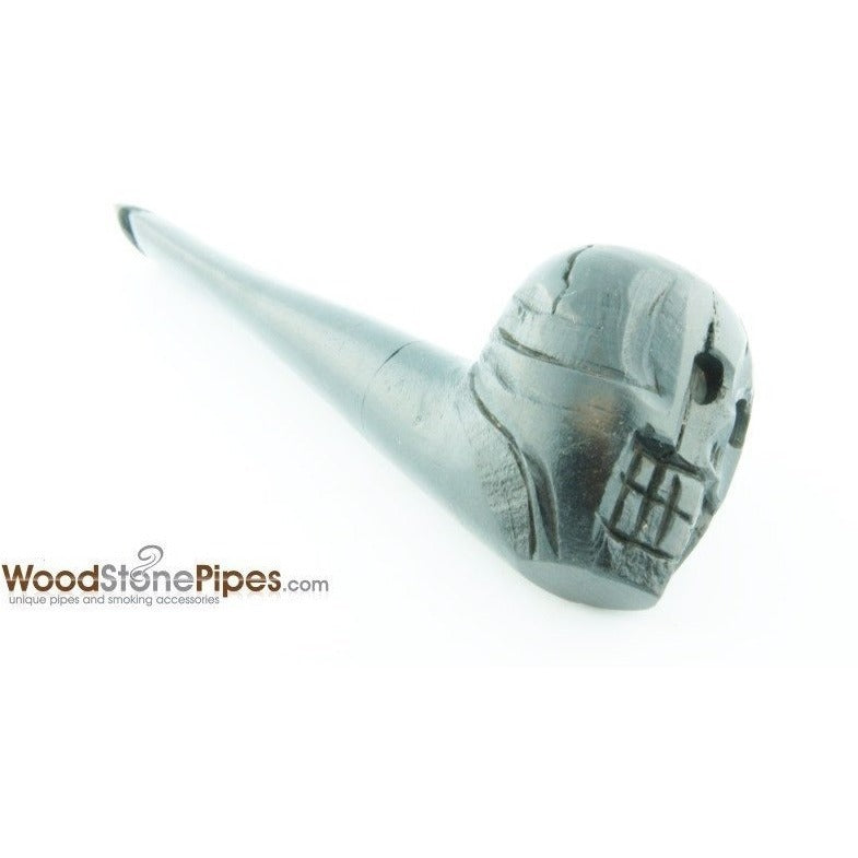 "Skull Shaped Hand Carved Ebony Wood Smoking Tobacco Pipe - 5"" - WoodStonePipes.com   - 4"