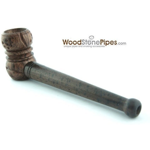 "Smoking Mini Tobacco Pipe - 4"" - Collectible Rosewood Wooden Pipe w/ Carved Bowl - WoodStonePipes.com   - 4"