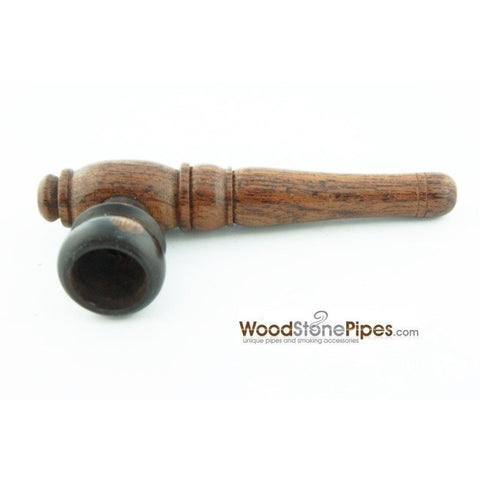 "Smoking Mini Tobacco Pipe - 4"" - Rosewood Wooden Pipe w/ Carved Bowl - WoodStonePipes.com   - 3"