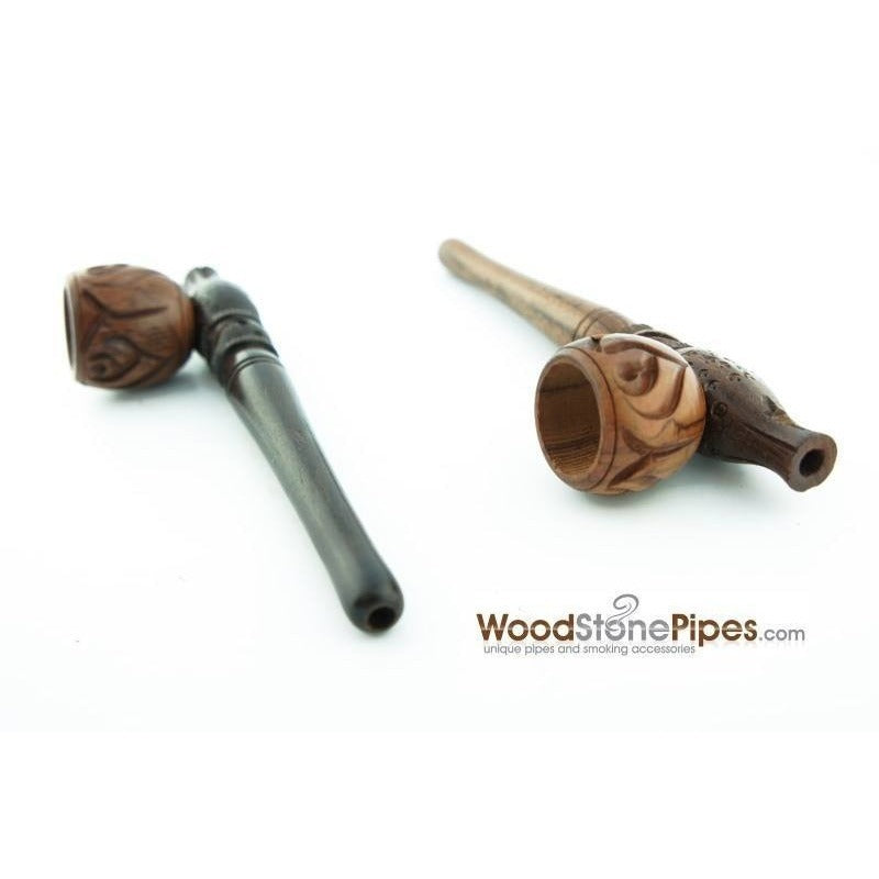 "Smoking Pipe Wood Wooden Mini Smoking Tobacco Pipe - 5"" + 5 Pipe Screens - WoodStonePipes.com   - 4"