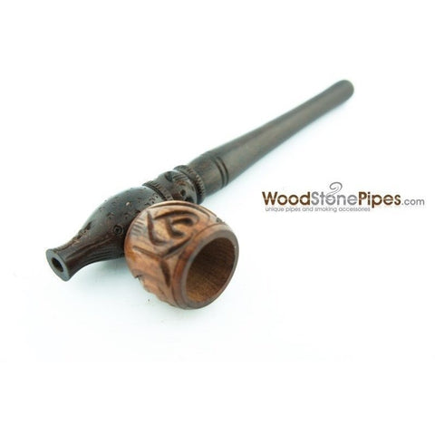 "Smoking Pipe Wood Wooden Mini Smoking Tobacco Pipe - 5"" + 5 Pipe Screens - WoodStonePipes.com   - 7"