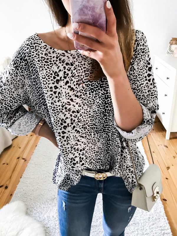 Leopard Print Long Sleeve Casual  T-Shirts