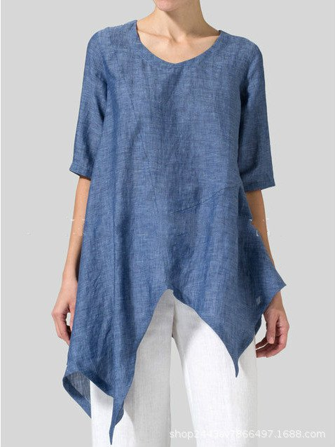 Asymmetrical Half Sleeve Casual Plus Size Blouse