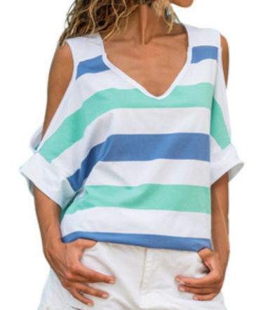 Summer Tops Cold Shoulder V-Neck Casual Striped T-Shirts