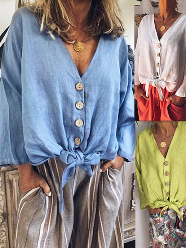 Solid V Neck Long Sleeve Buttoned Blouse
