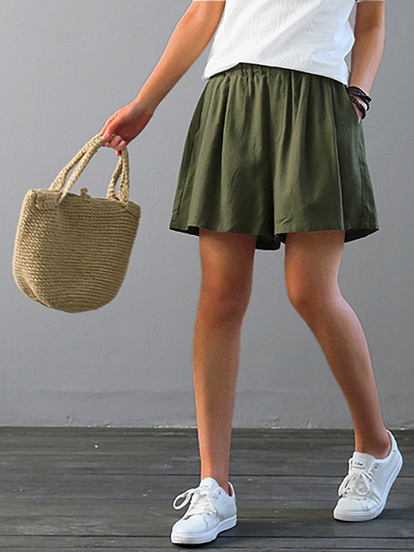 Women Cotton And Linen Solid  Casual  Wide-leg  Shorts