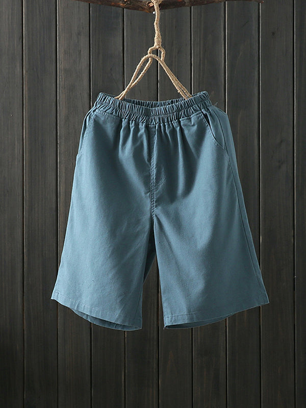 Women Cotton And Linen Casual Elastic Waist  Casual  Pants