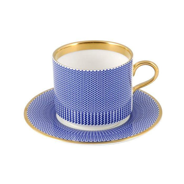 The New English:Benday Cobalt Latte Cup & Saucer