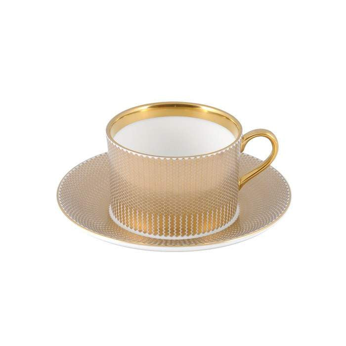 The New English:Benday Gold Coffee Cup & Saucer