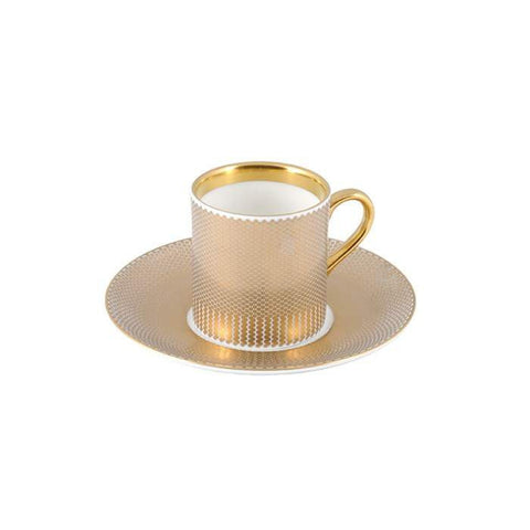 The New English:Benday Gold Espresso Cup & Saucer