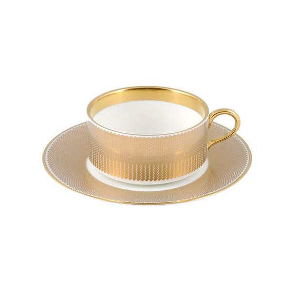 The New English:Benday Gold Tea Cup & Saucer