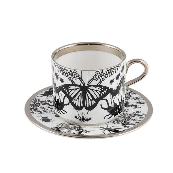 The New English:Entomo Black Latte Cup & Saucer