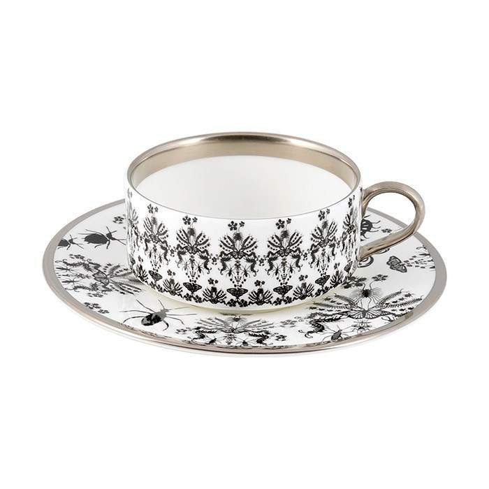 The New English:Entomo Black Teacup & Saucer