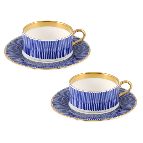 The New English:Benday Cobalt Teacup & Saucer Set x2