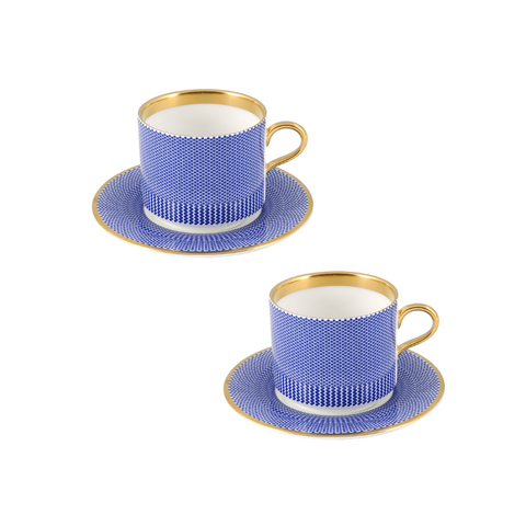 The New English:Benday Cobalt Latte Cup & Saucer Set of 2