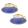 The New English:Benday Cobalt Coffee Cup & Saucer Set x2