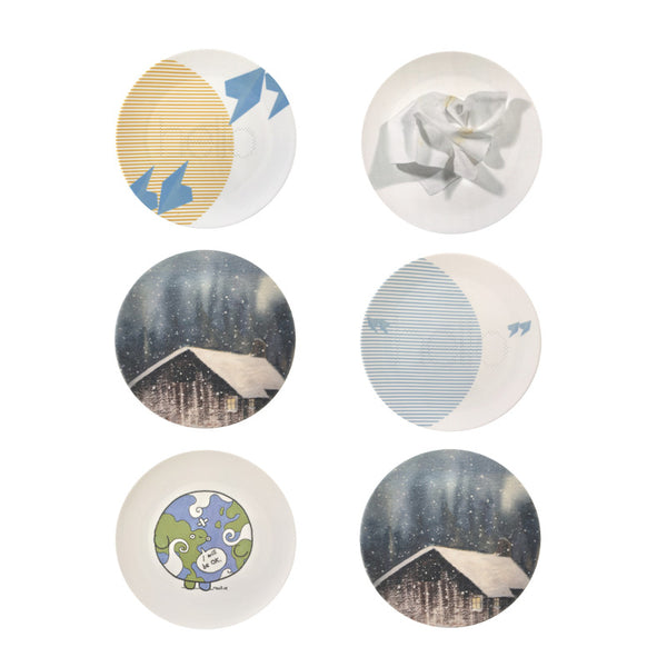 The New English:Cool Blue Set - 6x Artists Designed Fine Bone China Plates