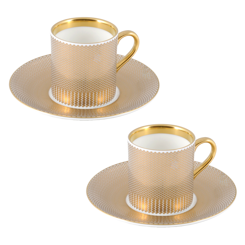 The New English:Benday Gold Espresso Cup & Saucer Set x2
