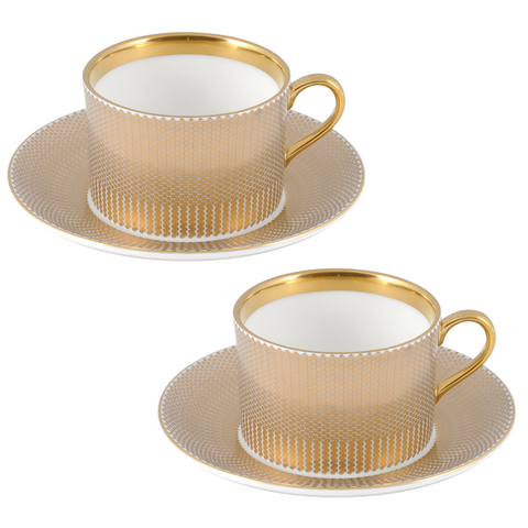 The New English:Benday Gold Coffee Cup & Saucer Set x2