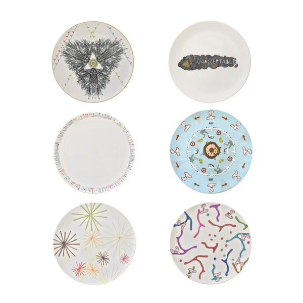 The New English:Multi-Coloured Set 2 - 6x Artists Designed Fine Bone China Plates