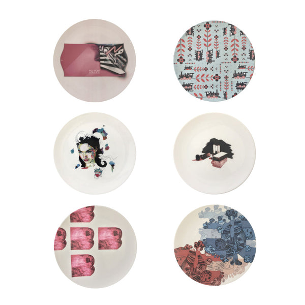 The New English:Pink & Blue Set - 6x Artists Designed Fine Bone China Plates