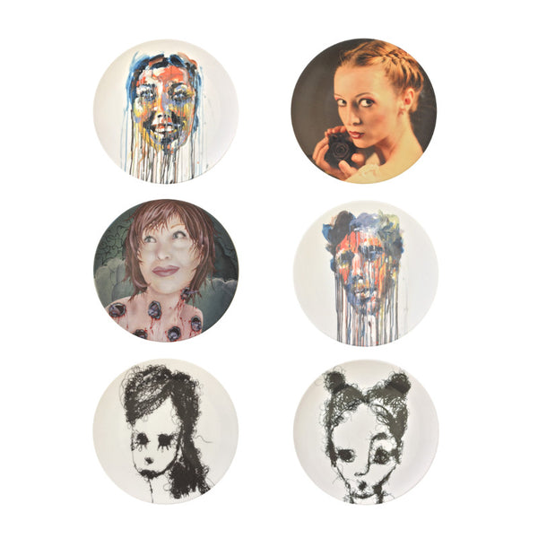 The New English:Portraits Set - 6x Artists Designed Fine Bone China Plates
