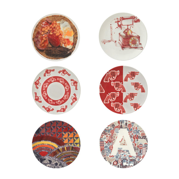 The New English:Red Set - 6x Artists Designed Fine Bone China Plates