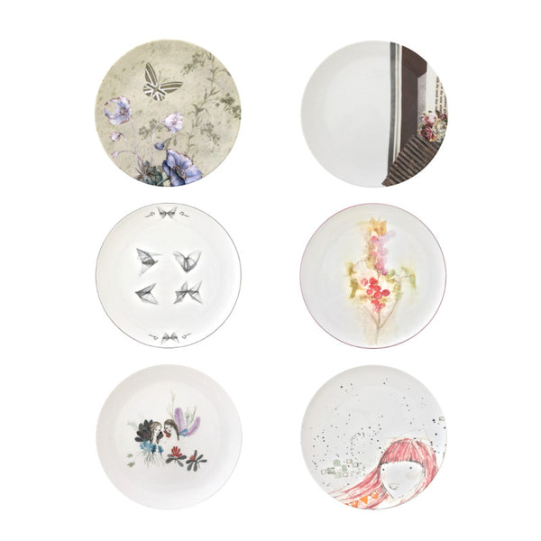 The New English:Spring Set - 6x Artists Designed Fine Bone China Plates
