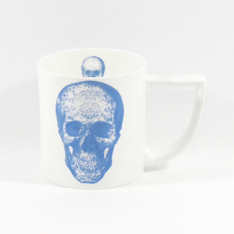 The New English:Blue Damask Skull Mug