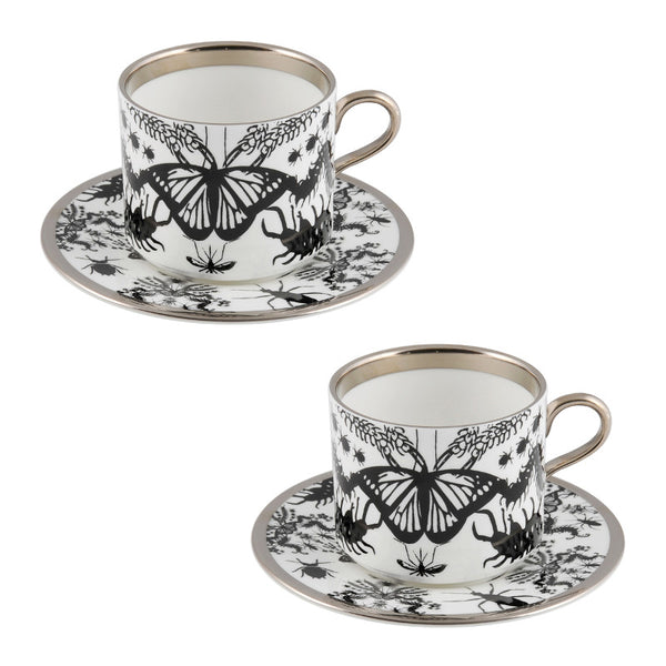 The New English:Entomo Black Latte Cup & Saucer Set of 2