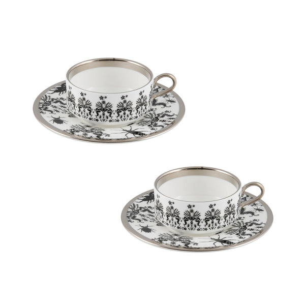 The New English:Entomo Black Mocha Cup & Saucer Set of 2