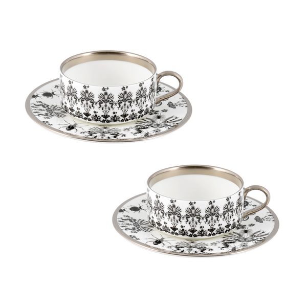 The New English:Entomo Black Teacup & Saucer Set of 2