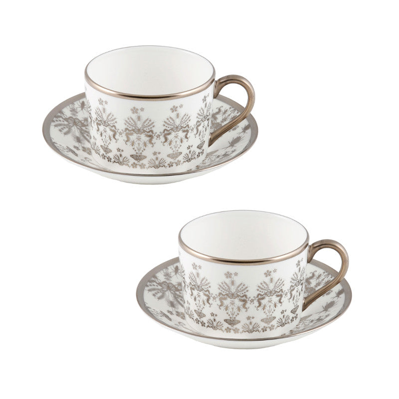 The New English:Entomo Platinum Coffee Cup & Saucer Set of 2