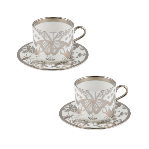 The New English:Entomo Platinum Latte Cup & Saucer Set of 2