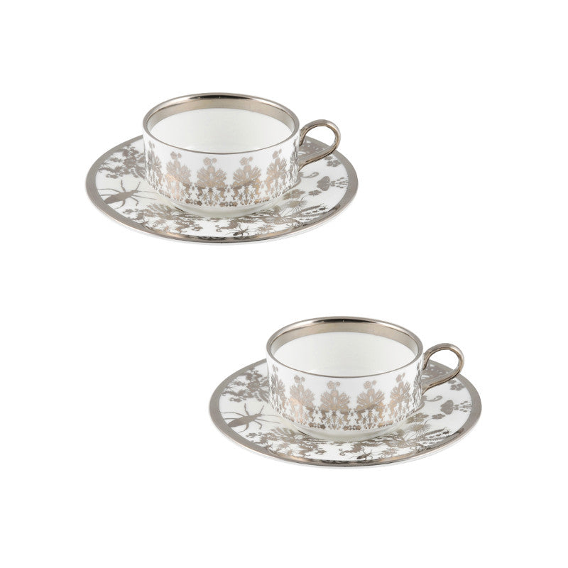The New English:Entomo Platinum Mocha Cup & Saucer Set of 2