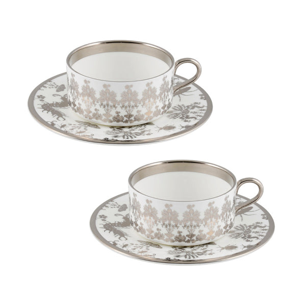 The New English:Entomo Platinum Teacup & Saucer Set of 2