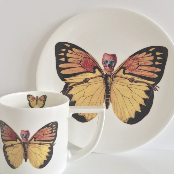 The New English:Lepidoptera - 'Croceus' Mug & Cake Plate Set