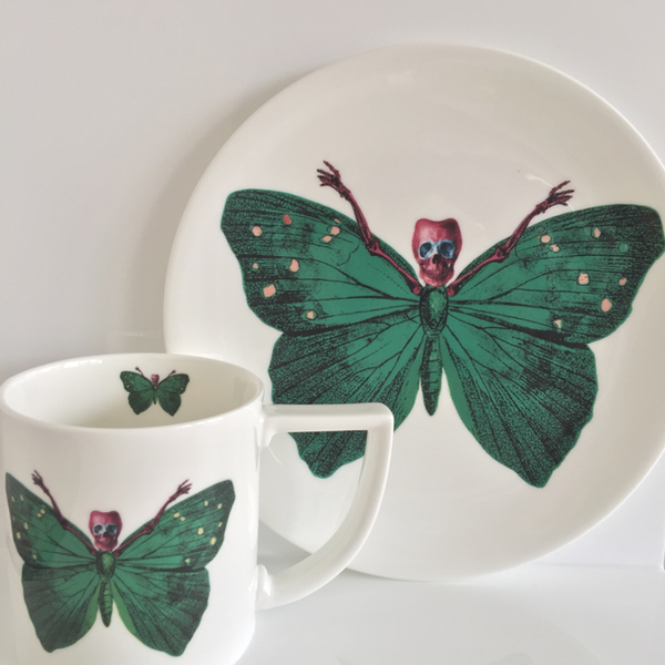 The New English:Lepidoptera - 'Crudus' Mug & Cake Plate Set