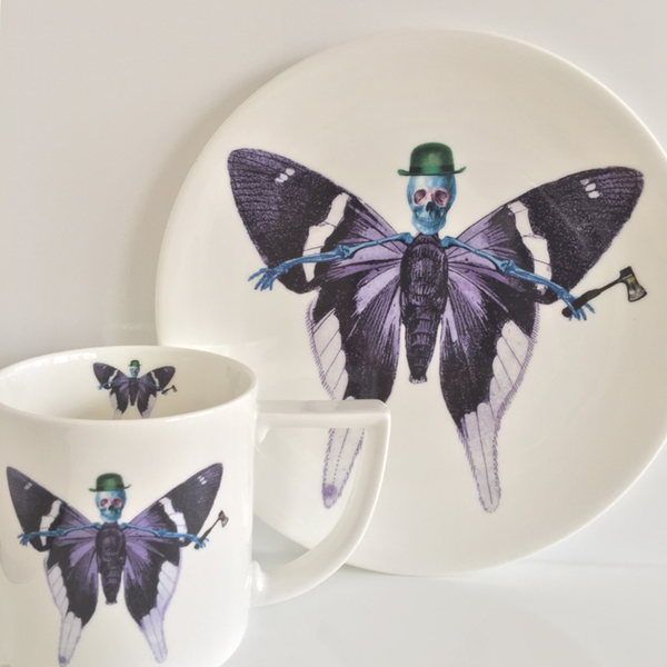 The New English:Lepidoptera - 'Vis' Mug & Cake Plate Set