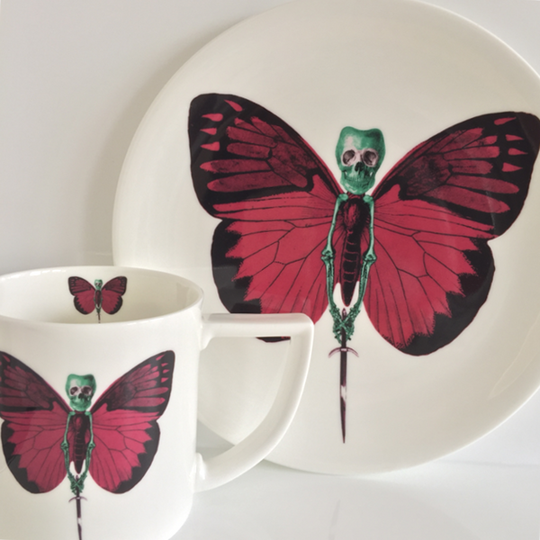The New English:Lepidoptera - 'Vix' Mug & Cake Plate Set
