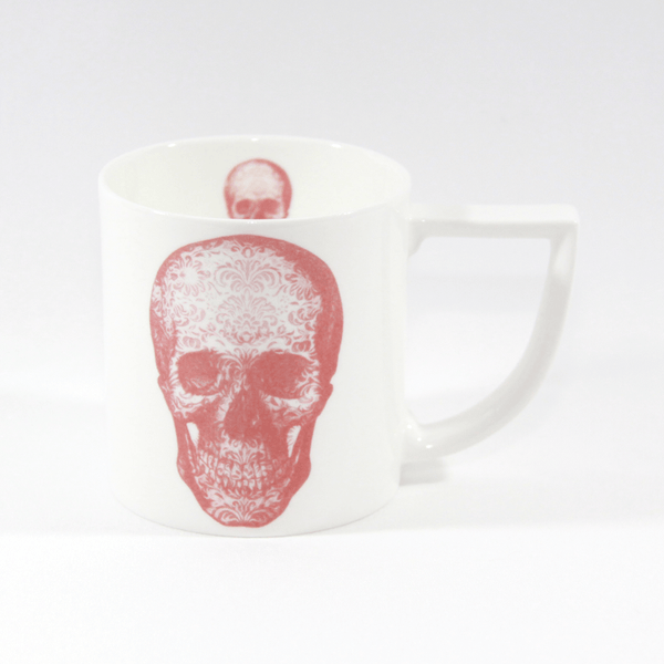 The New English:Red Damask Skull Mug