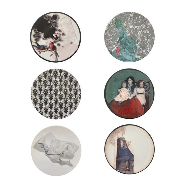 The New English:Victorian Set - 6x Artists Designed Fine Bone China Plates