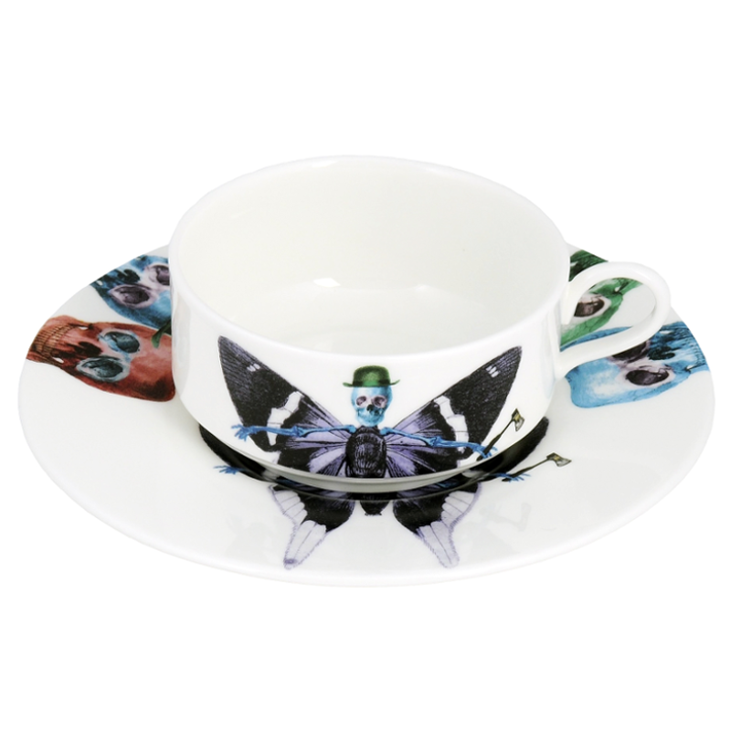 The New English:Lepidoptera Vis Mocha Cup & Saucer