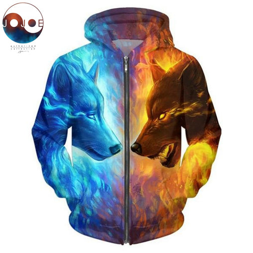 Ice and Fire Wolf Zipper Hoodies - Stashirt
