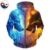 Ice and Fire Wolf Zipper Hoodies