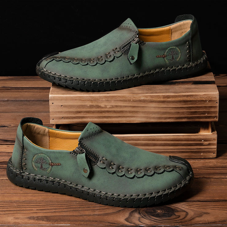 Hand-Stitched Non-slip Zipper Leather Casual Shoes