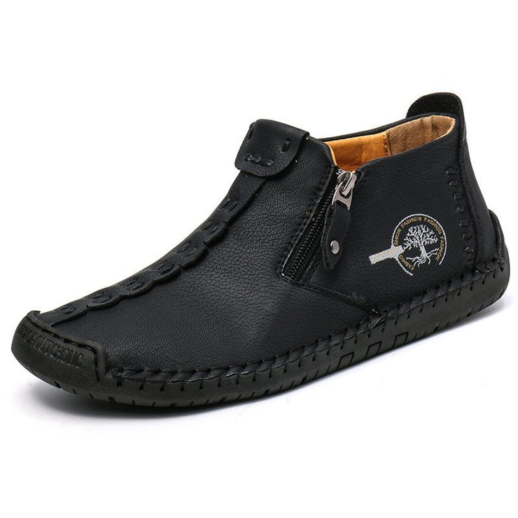 Hand-Stitched Leather Non Slip Side Zipper Casual Shoes