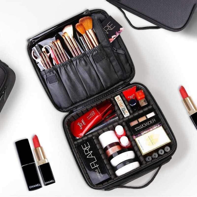 Portable Cosmetic Organizer With Adjustable Compartment