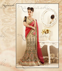 Beige Black And Maroon Heavy Threadwork Lehenga Saree